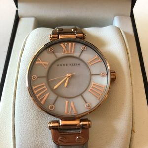 Anne Klein Wristwatch Gray Leather and Rose Gold
